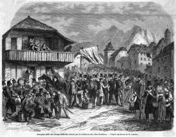 Prussia's claim to the canton of Neufchatel is supported by royalists : Swiss federal troops are welcomed by the populace
