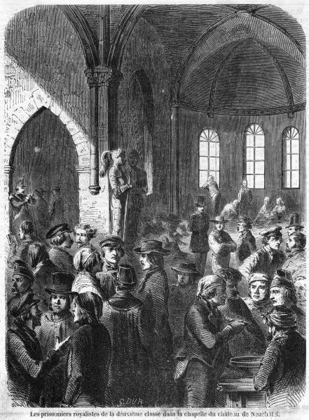 Prussia's claim to the canton of Neufchatel is supported by royalists who are overcome by the federal forces and prisoners temporarily housed in the chateau's chapel