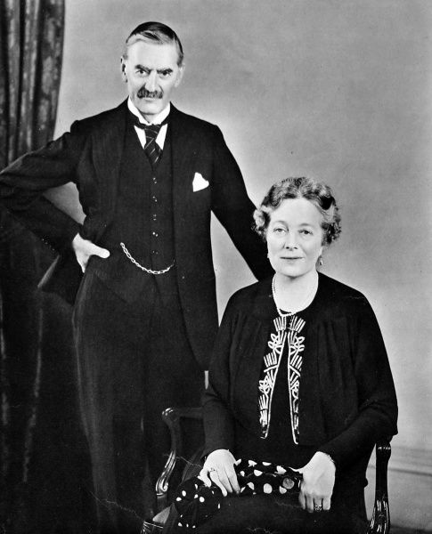 Photograph of Neville Chamberlain (1869-1940), then British Prime Minister, and his wife