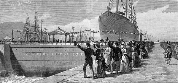 Prince Albert Victor, opening the new Alexandra graving-dock at Belfast. A graving or 'dry' dock was a dock which could be sealed off with gates, enabling work to be carried out on the hull