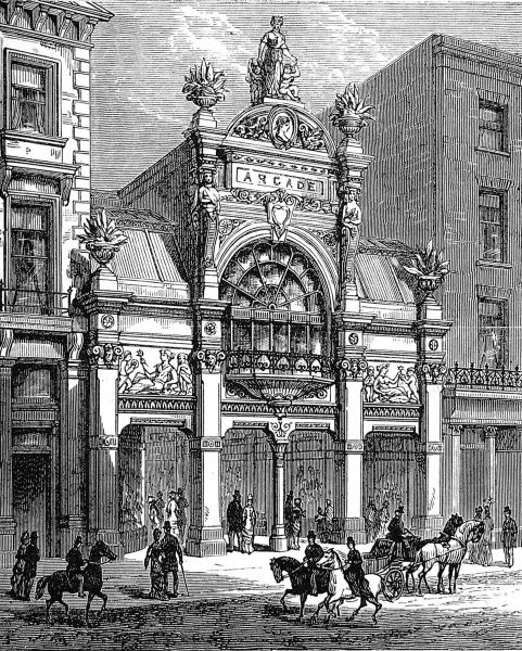 Engraving showing the exterior of the New Arcade, Old Bond Street, London in 1880