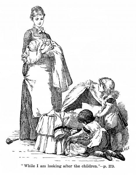 A young mother tenderly holds her new baby while her two daughters kneel by the cradle to play with a doll