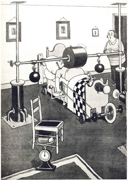 The New Banting Bed for Reducing the Figure. Cartoon by William Heath Robinson