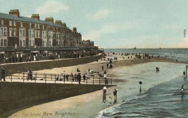 The Sands, New Brighton, The Wirral - overlooking Liverpool across the Mersey. Date: circa 1910s