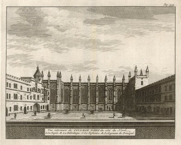 A view of the college from the north showing the chapel, dining hall, library and the Dean's lodgings. One of 39 engravings made of Oxford Colleges by Loggan