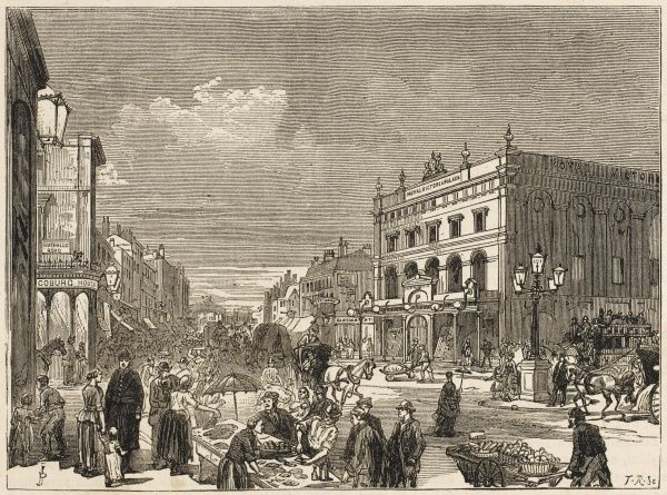 Market stalls in the New Cut, near Waterloo station : the Royal Victoria Palace is better known as the Old Vic. Date: circa 1860