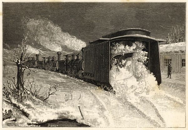 A new design for a railway snow plough - seen here in action