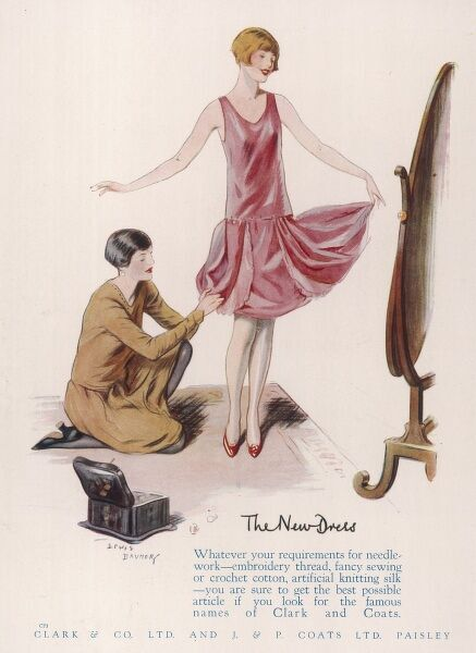 Advertisement for Clark & Co and J & P Coats, manufacturers of silks and cottons for dressmaking, showing a young woman admiring herself and her new pink party dress in a cheval mirror while her dressmaker adjusts the (terribly short) hem