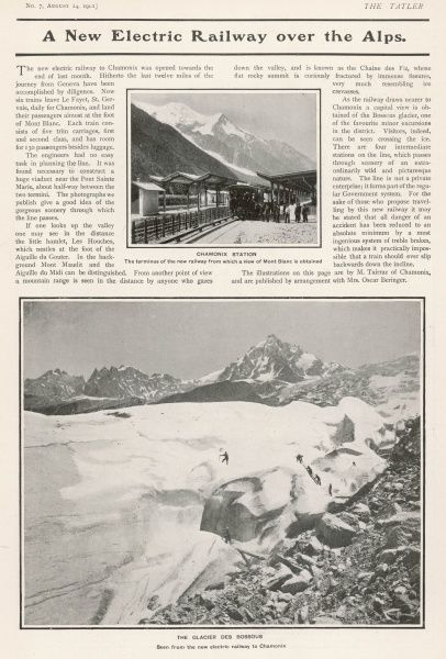 The new electric railway to Chamonix which opened in July 1901. The photographs show the beautiful scenery through which the line passes