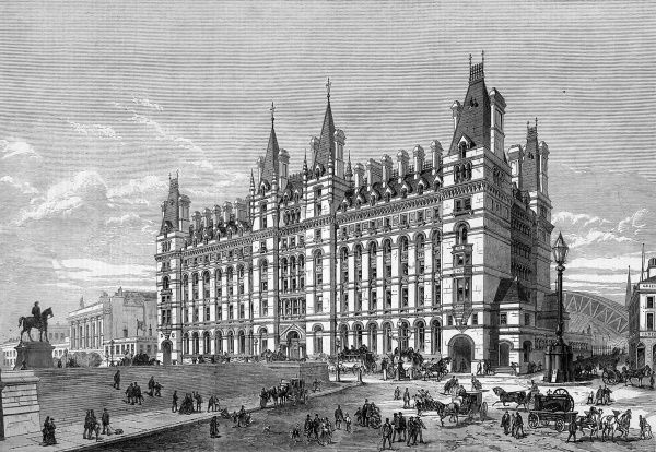 The new railway hotel at Lime Street, Liverpool. The hotel, later to be known as the Adelphi, had 330 rooms and was designed by the architect, Waterhouse