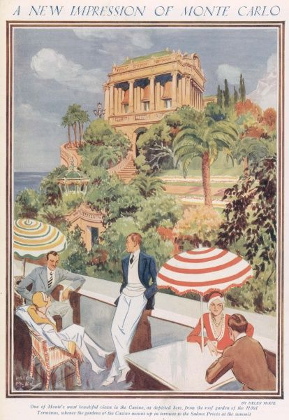 An illustration showing the view of the casino from the roof garden of the Hotel Terminus