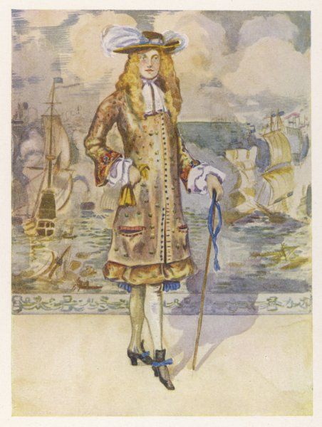 A man of fashion at the time of Charles II wearing the costume introduced by the King in 1666 of a long vest or sleeved waistcoat after the Persian or Turkish coat
