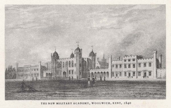 The Royal Military Academy at Woolwich; soldiers line up on the parade ground
