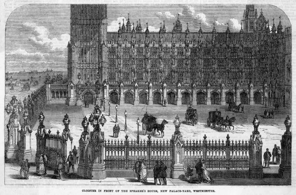 Cloisters surrounding New Palace Yard in the rebuilt Houses of Parliament