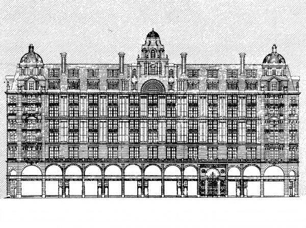 Illustration showing the design for a new Piccadilly Hotel, London, 1905. This building is now occupied by 'Le Meridien' Piccadilly Hotel. Date: 28/01/1905