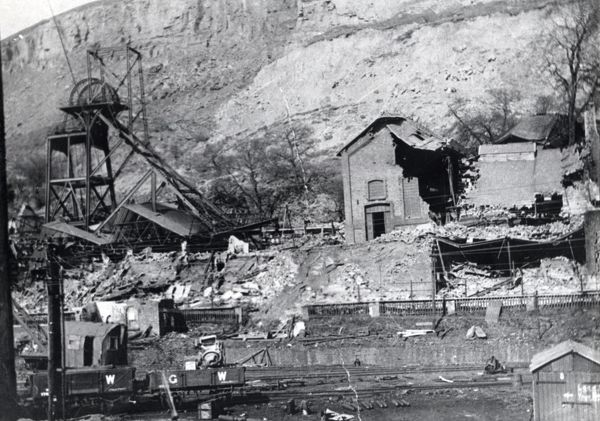 An engine house damaged by subsidence at New Tredegar Colliery, Rhymney Valley, South Wales. This colliery suffered from many landslips and other geological problems, and eventually closed in 1930