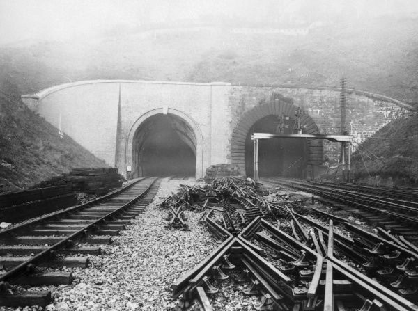 Completion of the new bore (left) of the Newport tunnel, on the Great Western Railway near the city of Newport, Monmouthshire, Gwent, South Wales