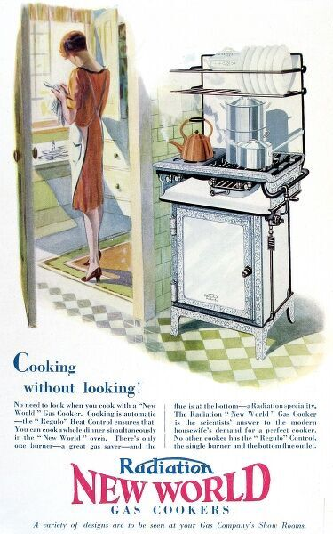 Advertisement for a gas cooker produced by the 'New World' company, 1928