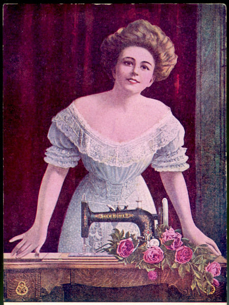 A satisfied purchaser stands proudly behind her 'New World' sewing machine