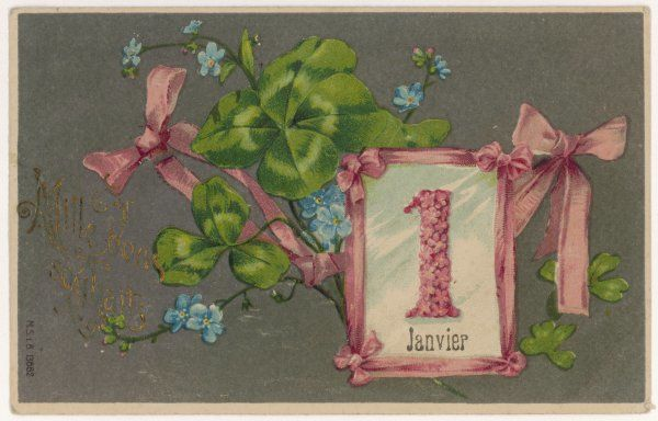 January 1st greetings card including pink ribbons and a four leaf clover for luck in the New Year