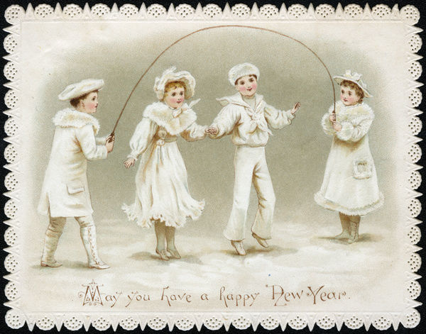 new year card four children with a skipping rope late 19th century
