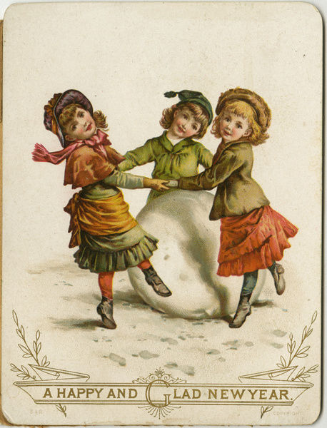 new year card three victorian children dancing round large snowball late 19th century