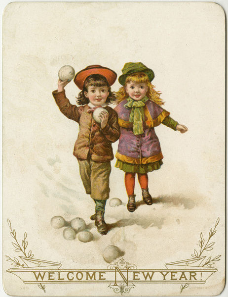 new year card victorian children snowballing late 19th century