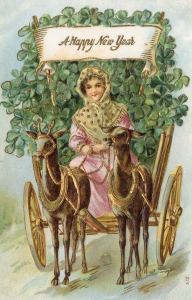 A pretty lady wishes you a Happy New Year as she drives a cart loaded with clover for good luck. Date: 1907