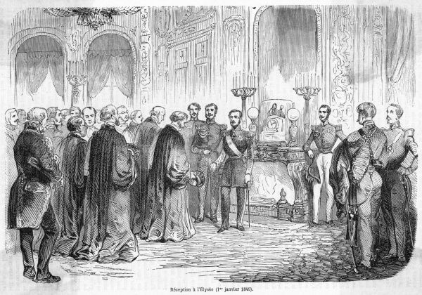 President Napoleon holds a New Year's reception at the Elysee palais, Paris