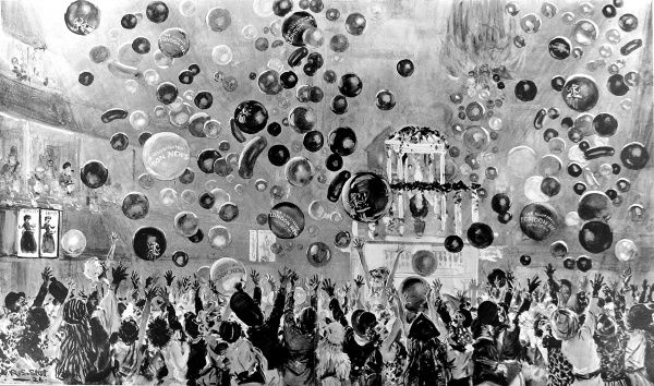 Illustration showing balloons cascading down onto the revellers at the New Year's Eve Party held at the Royal Albert Hall, 1925-6