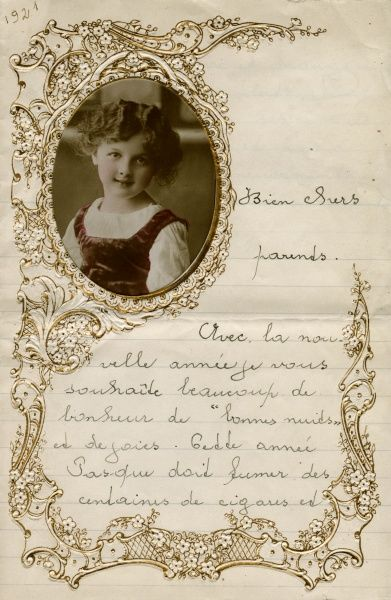 A Belgian child's traditional New Year's letter to her parents, with an oval portrait and an ornately decorated border. Date: 1921