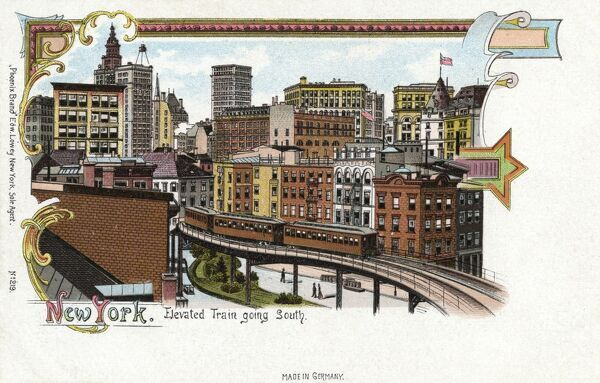 New York - Elevated Train going south Date: circa 1890s