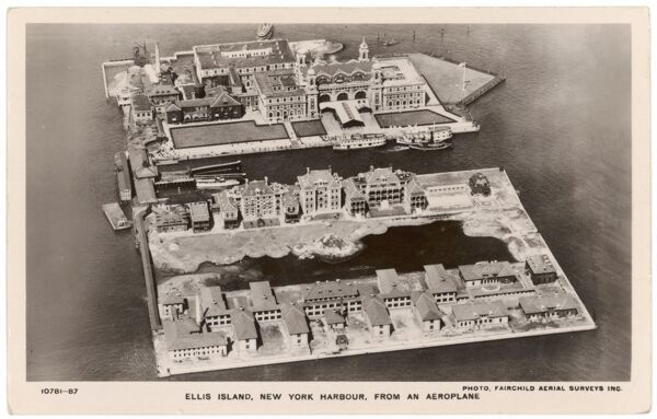 New York: Ellis Island, New York harbour, viewed from the air