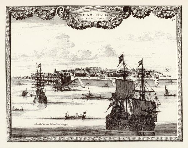 New York: general view from the sea, when the city was known as New Amsterdam