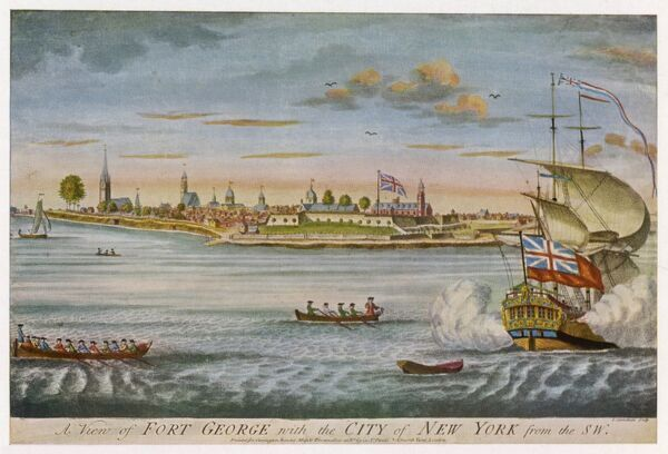 A view of Fort George and the settlement of New York from the coastline