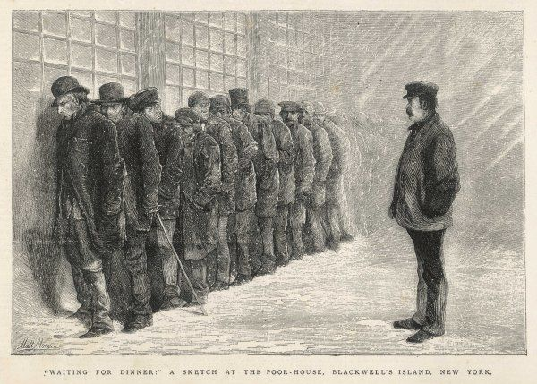 New York : men waiting for admission to the poor-house on Blackwell's Island