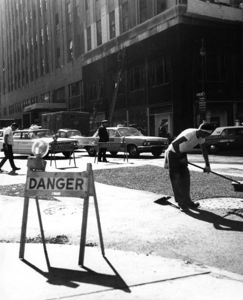 Workmen mending roads, New York, U.S.A. Date: 1960s