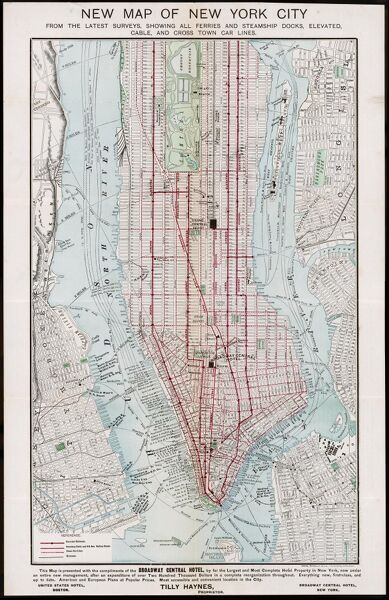 New York: street plan, showing the rivers, roads and public transport options