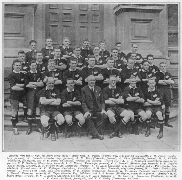 A team photograph of the New Zealand 'All Blacks' rugby team, the first to visit the UK for 19 years