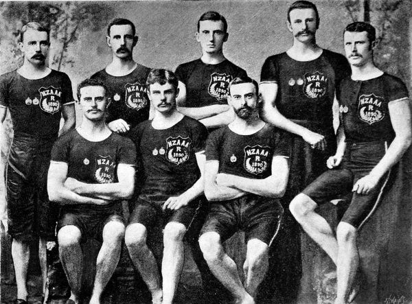 Photograph showing the New Zealand Amateur Athletic Team which competed at the Australasian Championship Meeting in Sydney, May 1890. The men shown are (left to right): J.H. Hempton; F.C. White; H.M. Reeves; D. Wood; P. Morrison; R.B. Lusk; E