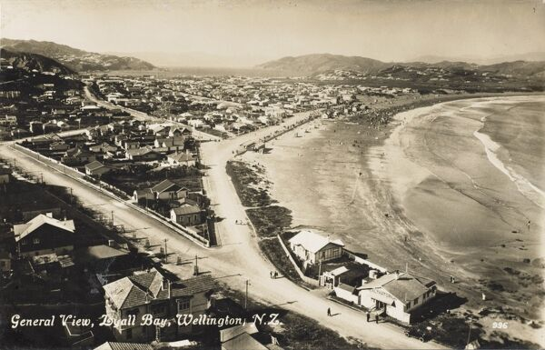 A general panoramic view of Lyall Bay, Wellington, New Zealand