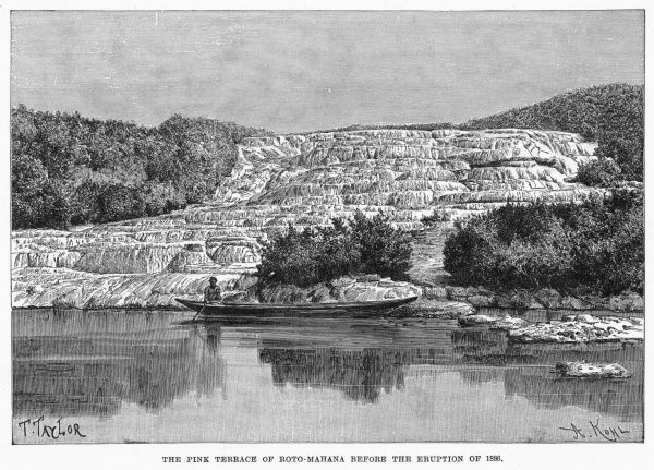 The Pink Terrace in the Northern Island, before the eruption of 1886