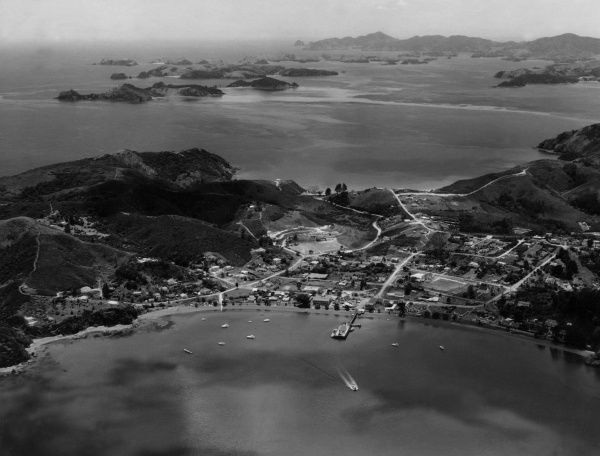 An aerial view of Russell, Bay of Islands, New Zealand. Date: 1950s