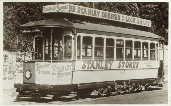 New Zealand - Tramcar advertising Stanley Stores at Stanley Bay. Date: circa 1920s