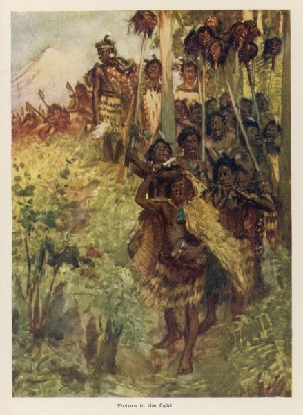 Having defeated their enemies in battle, the warriors of a Maori tribe return to their village with the heads of those that they have slain