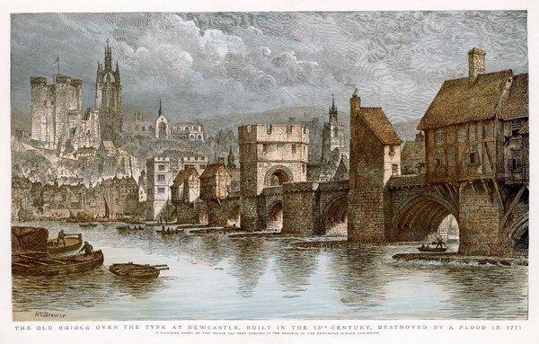 The bridge over the Tyne at Newcastle, with buildings on it, destroyed by flood in 1771