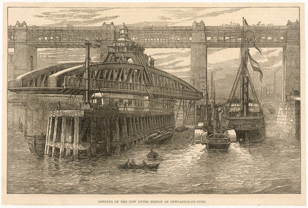 The opening of the new swing bridge at Newcastle-on-Tyne on June 15th 1876. The bridge was designed by William Armstrong