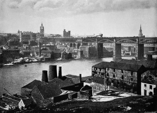 Newcastle viewed across the Tyne, showing the High Level Bridge Date: 1895