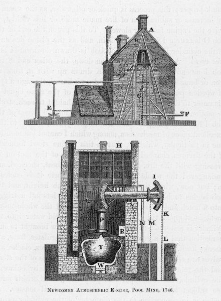 Newcomen's atmospheric engine at Pool Mine, Cornwall