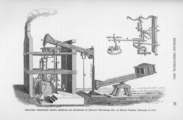 Newcomen atmospheric engine modified by Richard Trevithick, senior, at Bullan Garden, Dolcoath in 1775
